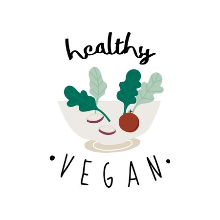 Healthy vegan salad in a bowl vector