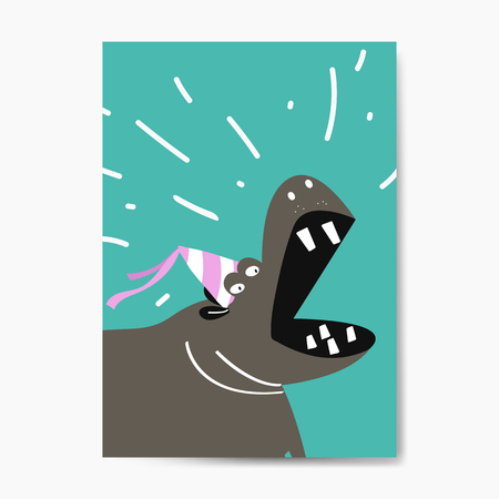 Cute hippopotamus wearing a party hat cartoon vector design