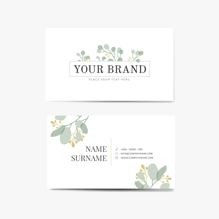 Foliage white business card template vector