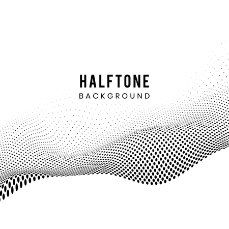 Black wavy halftone on white background vector
