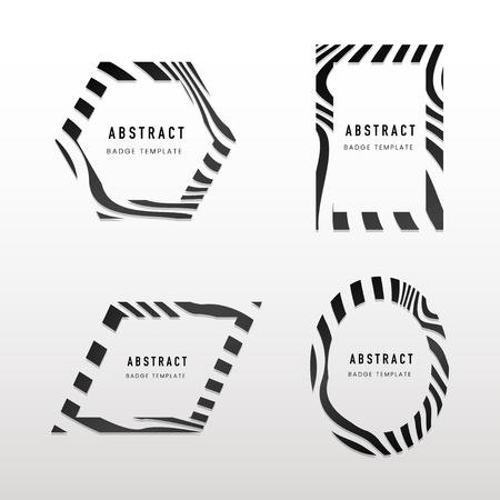 Collection of black and white abstract badge vectors 版權商用圖片 - 126248915