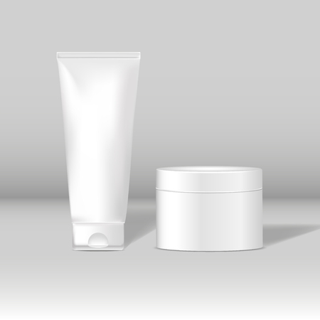 Set of white package mockups for skin care vector Vectores