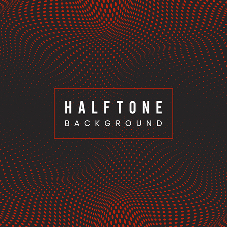 Red and black wavy halftone background vector