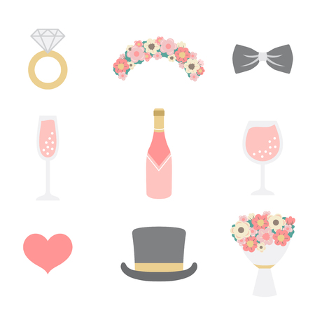 Wedding photo booth props vector Illustration