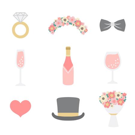 Wedding photo booth props vector Ilustracje wektorowe