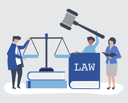 Illustration of people with justice and order icons