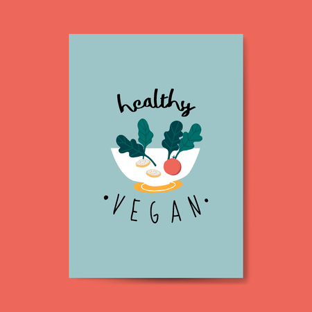 Healthy vegan salad card vector