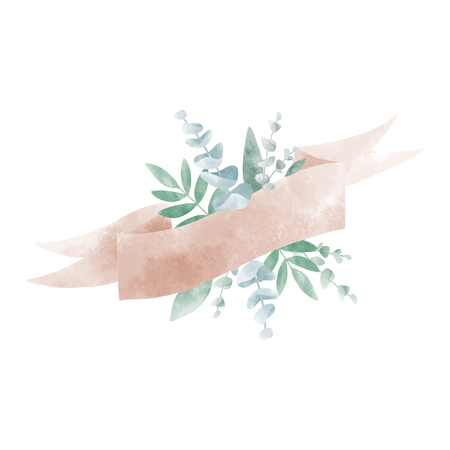 Watercolor leaves with a banner vector