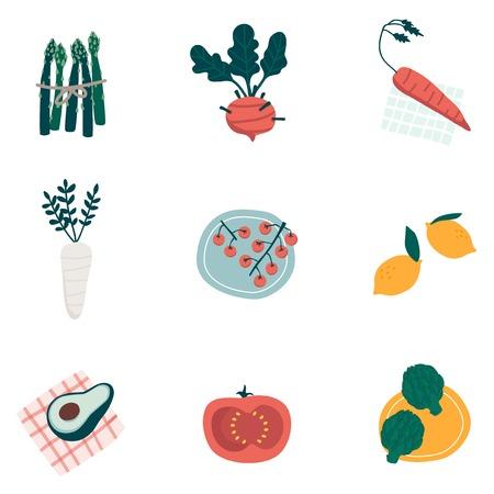 Colorful organic vegetable set vectors