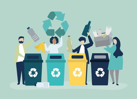 Leute, die Müll zum Recycling sortieren
