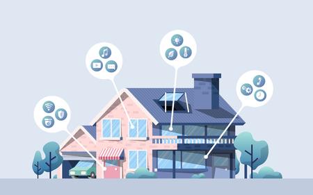 Paquete de vectores de casa inteligente con iconos