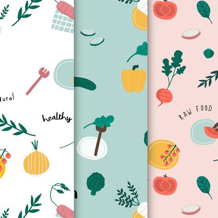 Healthy vegan food wallpaper vectors Illustration