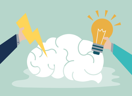 Idea creativa e icono de cerebro pensante