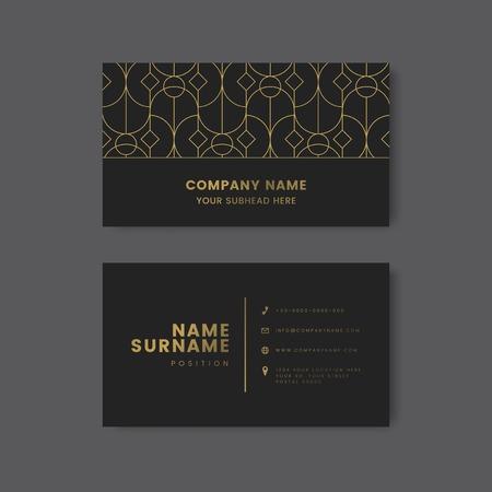 Golden geometric pattern on black business card vector