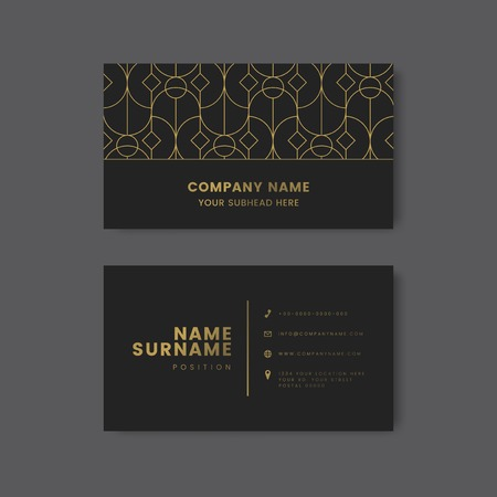 Golden geometric pattern on black business card vector Illustration