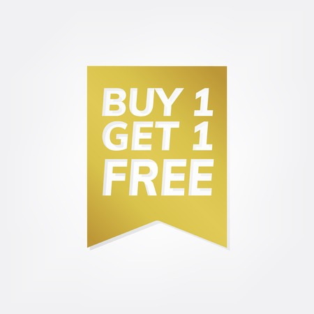 Gold buy 1 get 1 free banner vector