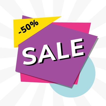 Vente 50 % de réduction sur le vecteur publicitaire de promotion de magasin