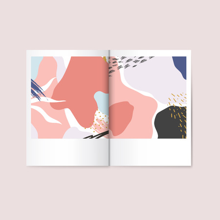 Colorful Memphis design magazine vector