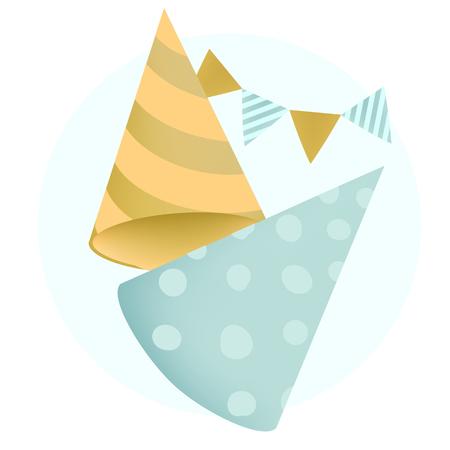 Colorful party hat design vectors Illustration