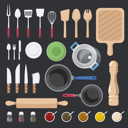 Kitchen utensils and ingredients vector set Illusztráció