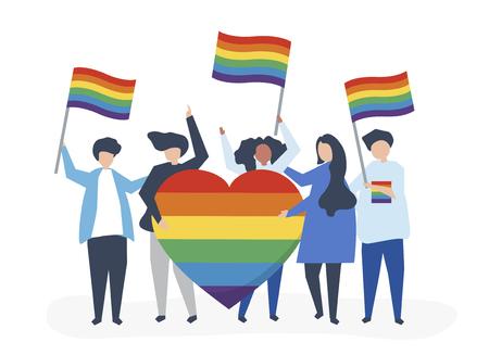 Ilustración de personajes de personas con iconos de apoyo LGBT Ilustración de vector