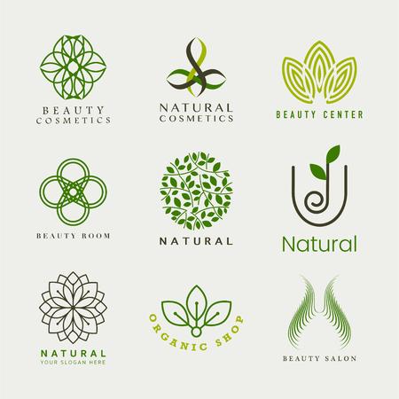 Zestaw wektor logo kosmetyków naturalnych