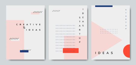 Set of minimal Memphis design start-up poster vector