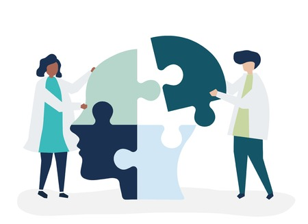 Persone che collegano pezzi di puzzle di una testa insieme Vettoriali
