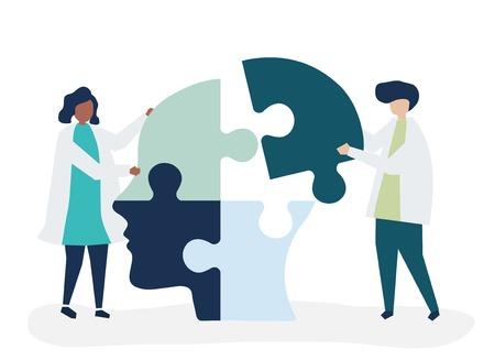 Personnes reliant des pièces de puzzle d'une tête ensemble Vecteurs