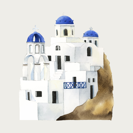 Santorini Cycladic houses watercolor illustration Illustration
