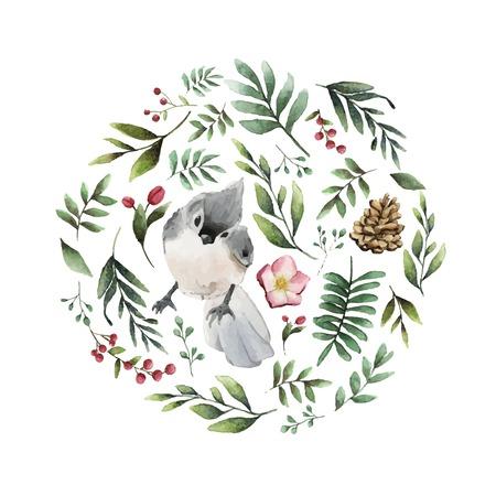 Büscheliger Meisenvogel umgeben von Blumen und Blättern Aquarellmalerei Vektor