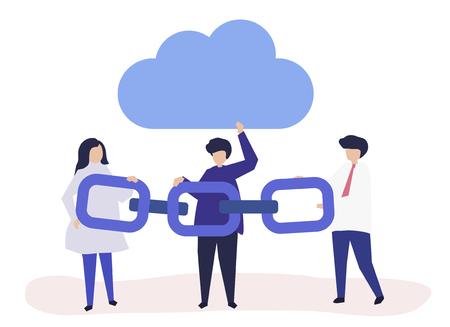 Cloud-Computing-Konzeptillustration von Leuten, die eine Kette halten