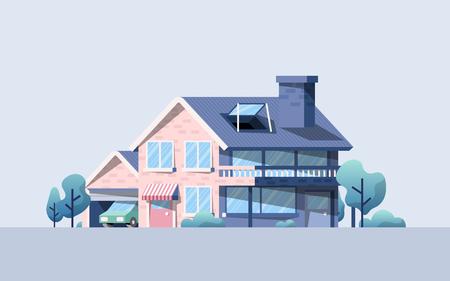 Hi tech home in nature illustration 矢量图像