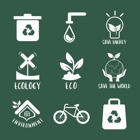 Environmental conservation symbol set illustration Illusztráció