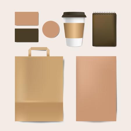 Paper branding mockup vector set