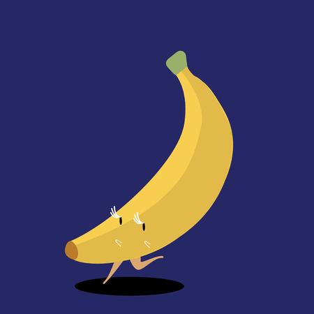 Yellow ripe banana cartoon character vector  イラスト・ベクター素材