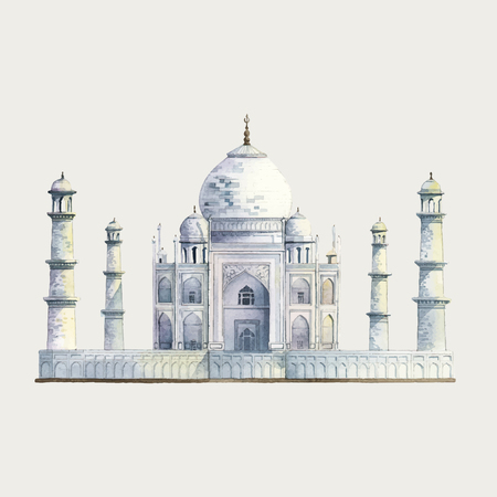 The Taj Mahal in Agra, India watercolor illustration Illustration
