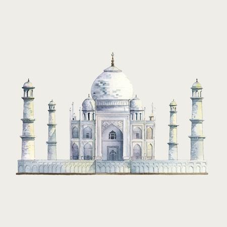 The Taj Mahal in Agra, India watercolor illustration Иллюстрация
