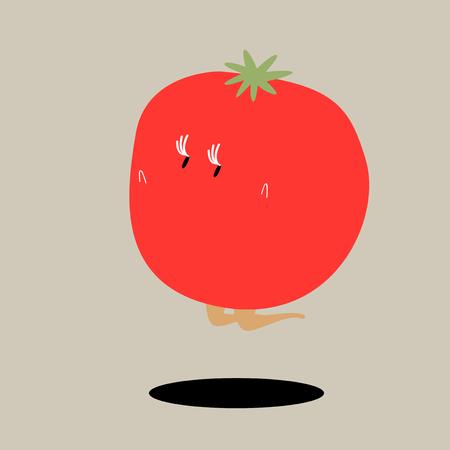 A jumping tomato cartoon character vector