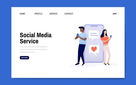 Diseño de página de destino de servicio de redes sociales