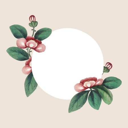 Chinese painting featuring flowers blank circle frame vector Illustration