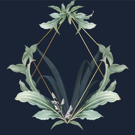 Cornice vuota con foglie verdi disegno vettoriale