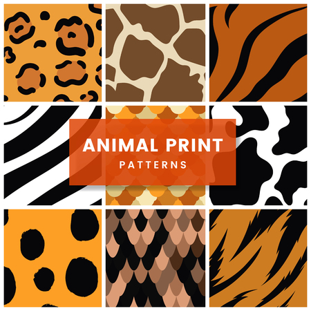 Set of seamless animal print pattern vectors Иллюстрация
