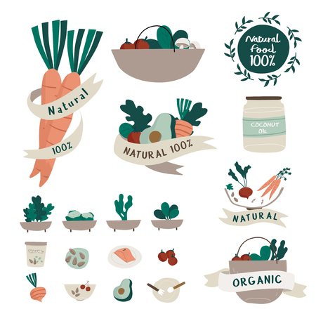 Set of natural and organic food badges vector Ilustrace