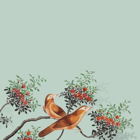 Chinesische Malerei mit zwei Vögeln auf einer Karte mit blühendem Baumzweig