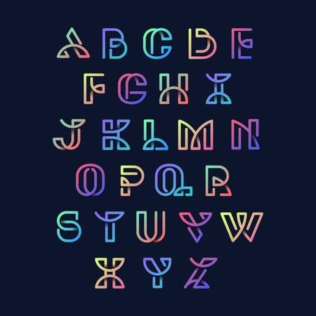 Colorful retro alphabets vector set