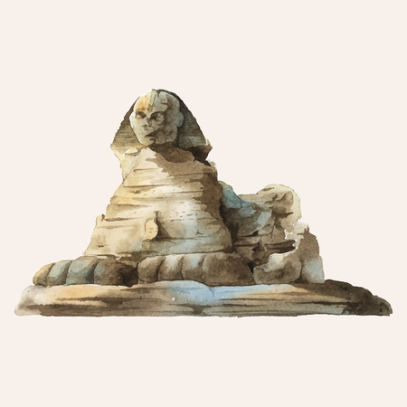 The Egyptian sphinx painted by watercolor Imagens - 126249028