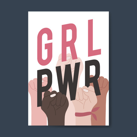 Girl power with diverse fists vector