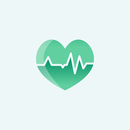 heart with cardiograph icon medical illustration