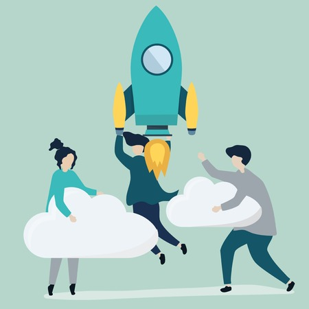 A people holding onto a launched rocket and clouds Illustration
